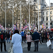 Thousands pro-Brexit attend BREXIT RALLY at Parliament Square  on 29 March 2019, London, UK.