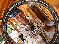A cyclist and his rear wheel