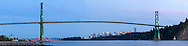 Panorama of the Lions Gate Bridge, downtown Vancouver and Prospect Point in Vancouver, British Columbia, Canada