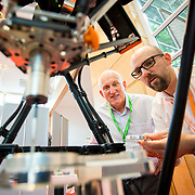 13.06.2018.            <br /> Up to 1,000 delegates visited Ireland's largest manufacturing supply chain conference and trade exhibition - Manufacturing Solutions Ireland 2018 - at Limerick Institute of Technology (LIT) in the course of today (Wednesday, June 13). <br /> <br /> Leigh Turnbull, Renishaw explains some of the workings of Renishaw technology to Tim Davern at the event.<br /> <br /> In its second year, the conference and engineering trade show, hosted by the UK tool technologies trade association - the GTMA in conjunction with LIT, exceeded last year's attendance thereby helping to generate in excess of a quarter of a million euro for the local economy. The Manufacturing Solutions event was supported by the Syndicat du Décolletage Congress also held in Limerick. Picture: Alan Place