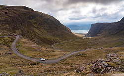 View of single track road  on Bealach na Ba pass on Applecross Peninsula  the North Coast 500 driving route in northern Scotland, UK