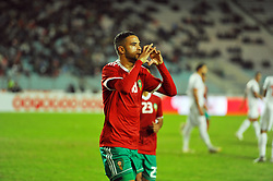 November 20, 2018 - Tunis, Tunisia - Youssef Annassiri(18) marks the only goal of the match for Morocco during friendly Match between Tunisia and Morocco already qualified for the African Continental Tournament at the Olympic Stadium in Rades. (Credit Image: © Chokri Mahjoub/ZUMA Wire)