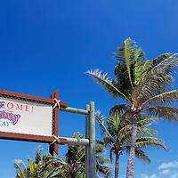 Caribbean, Bahamas, Castaway Cay. Welcome to Castaway Cay sign.