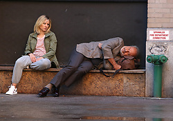 """Kristen Bell and Kelsey Grammer laugh and fall asleep while filming on the last day of production for their latest movie project """"LIKE FATHER"""" in Manhattan's TribeCa Neighborhood. 02 Oct 2017 Pictured: Kristen Bell and Kelsey Grammer. Photo credit: LRNYC / MEGA TheMegaAgency.com +1 888 505 6342"""