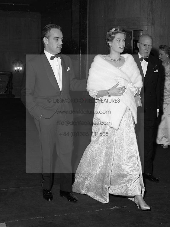 PRINCE RAINIER & PRINCESS GRACE OF MONACO seated at the Monte Carlo Rose Ball on 7th February 1958.