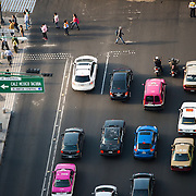 View of traffic jam in Mexico City from the 44th floor of the Torre Latinoamericana building.