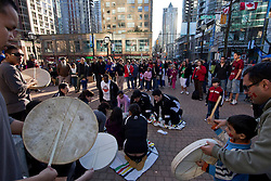 Arctic sports and Dene hand games athletes demonstrate for onlookers