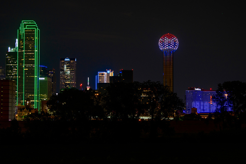 Reunion Tower lights up to honor the SMU Graduation Class of 2020, Monday, May 11, 2020 in downtown Dallas.