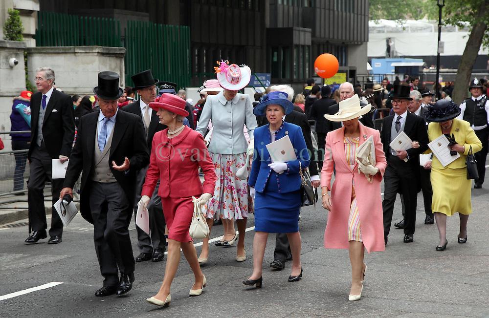 29 April 2011. London, England..Royal wedding day. British aristocracy leaves the wedding. .Photo; Charlie Varley.