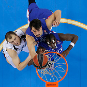 Anadolu Efes's Stephane Lasme (F) and Dario Saric (C) during their Turkish Airlines Euroleague Basketball Top 16 Round 11 match Anadolu Efes between Nizhny Novgorod at Abdi ipekci arena in Istanbul, Turkey, Thursday March 19, 2015. Photo by Aykut AKICI/TURKPIX