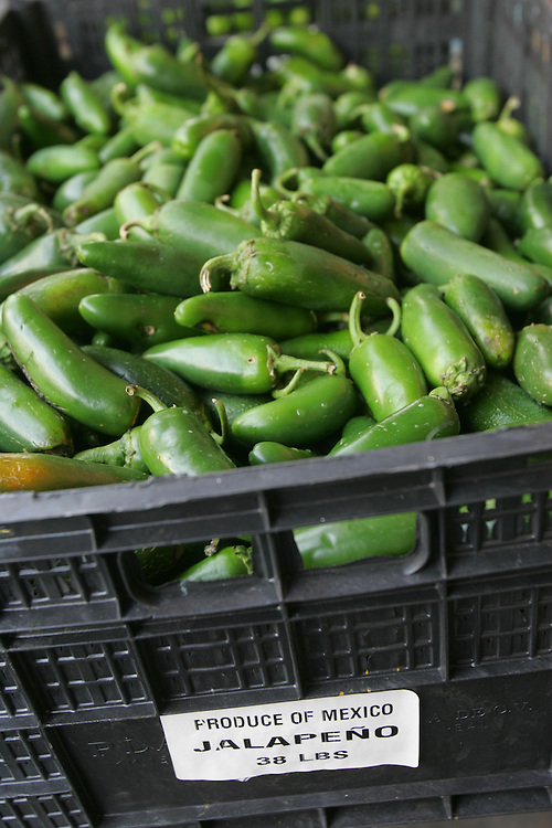 McAllen Produce Terminal Market, 7/28/08.A case of unsold Mexican jalapeños sits at the McAllen Produce Terminal Market on Monday, July 28, 2008.