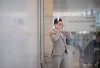 DEU, Deutschland, Germany, Berlin, 18.05.2021: Jan Nolte (AfD) telefoniert am Rande einer Fraktionssitzung der Partei Alternative für Deutschland im Deutschen Bundestag.