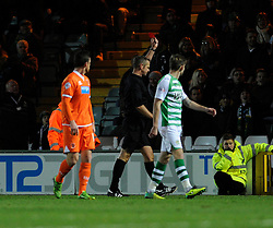 Blackpool's Kirk Broadfoot receives a red card. - Photo mandatory by-line: Dougie Allward/JMP - Tel: Mobile: 07966 386802 03/12/2013 - SPORT - Football - Yeovil - Huish Park - Yeovil Town v Blackpool - Sky Bet Championship