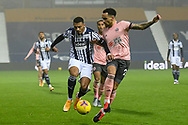 West Bromwich Albion forward Karlan Grant (29) battles for possession with Sheffield United defender Kean Bryan (29)  during the Premier League match between West Bromwich Albion and Sheffield United at The Hawthorns, West Bromwich, England on 28 November 2020.
