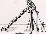 Archimedean screw operated by reciprocating rope to give continuous circular motion. The screw is being used to raise water from A to B.  The  invention of this device for raising water by either a spiral tube wound round an axis, or by a broad screw fitted in a tube, is attributed to Archimedes (c187-212BC) but there is evidence that it was known and used for irrigation as early as 600 BC.  Engraving from 'Receuil d'ouvrages Curieux de Mathematique et de Mecanique, ...' by Gaspard Grollier de Serviere (Lyons, 1719).
