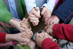 United States, Washington, Bellevue, hands, held in a circle by children