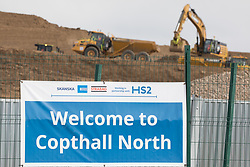 Works alongside Harvil Road for the HS2 high-speed rail link are pictured on 6th April 2021 in Harefield, United Kingdom. Large swathes of the Colne Valley have been cleared of trees and vegetation for HS2 works which will include the construction of a Colne Valley Viaduct across lakes and waterways.