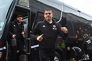 Conor Coady (16) of Wolverhampton Wanderers waves gets of the bus on arrival at Ashton Gate Stadium before the The FA Cup 5th round match between Bristol City and Wolverhampton Wanderers at Ashton Gate, Bristol, England on 17 February 2019.