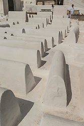 White tombs in Jewish cemetery in the old Mellah or Jewish quarter,Fes, Morocco