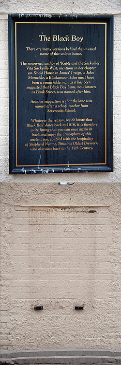 ©Licensed to London News Pictures 19/08/2020             Sevenoaks, UK. Comparison picture today (19/08/2020) The Restoration pub wall historical plaque removed and from the (30/06/2020) The Black Boy pub historical plaque on the wall. The Black Boy pub in Sevenoaks, Kent which is over 400 years old has changed its name over racism fears to The Restoration. Photo credit: Grant Falvey/LNP