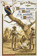 Pierre Terrail, Seigneur de Bayard (1475-1524) French hero, the 'knight without fear and beyond reproach'. Bayard mortally wounded during Charles V of France's invasion of Champagne. Nineteenth Century Trade Card  Lithograph