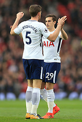 28th October 2017 - Premier League - Manchester United v Tottenham Hotspur - Jan Vertonghen of Spurs greets teammate Harry Winks before the match - Photo: Simon Stacpoole / Offside.