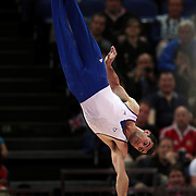 Vasileios Tsolakidis, Greece, in action in the Men's Parallel Bars Final at North Greenwich Arena during the London 2012 Olympic games London, UK. 7th August 2012. Photo Tim Clayton