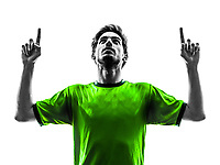 one soccer football player young man happiness joy pointing up in silhouette studio on white background