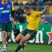 Quade Cooper, Australia, kicks a penalty watched by James Horwill acting as the teams waterboy during the Australia V USA, Pool C match during the IRB Rugby World Cup tournament. Wellington Stadium, Wellington, New Zealand, 23rd September 2011. Photo Tim Clayton...