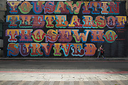 Street art mural in Shoreditch sends a message about those who survived the Grenfell Tower disaster in London, England, United Kingdom.