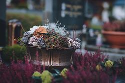 THEMENBILD - herbstlicher Grabschmuck auf einem Grab. Am 1. November gedenken Katholiken aller Menschen, die in der Kirche als Heilige verehrt werden. Das Fest Allerseelen am darauf folgenden 2. November, ist dem Gedaechtnis aller Verstorbenen gewidmet, aufgenommen am 30. Oktober 2020 in Kaprun, Oesterreich // Grave decoration on a grave. On All Saints' Day November 1, Catholics remember all people who are venerated as saints in the church. The festival Souls on the following November 2 is dedicated to the memory of all deceased, taken at the cemetery in Kaprun, Austria on 2020/10/30. EXPA Pictures © 2020, PhotoCredit: EXPA/Stefanie Oberhauser