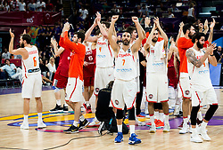 Juan Carlos Navarro of Spain and other players of Spain celebrate after winning during basketball match between National Teams of Spain and Turkey at Day 11 in Round of 16 of the FIBA EuroBasket 2017 at Sinan Erdem Dome in Istanbul, Turkey on September 10, 2017. Photo by Vid Ponikvar / Sportida
