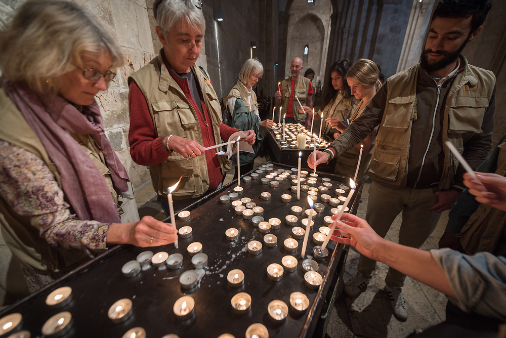 15 April 2019, Jerusalem: Ecumenical Accompaniers (EAs) from the World Council of Churches gather in Saint Anne's Basilica in Jerusalem. Through a candlelight ceremony, one group of EAs pass on the challenge of their ministry to another. Each group of accompaniers spends three months in the Holy Land, providing protective presence, monitoring human rights violations, and collecting documentation of life under occupation, as well as initiatives for peace.