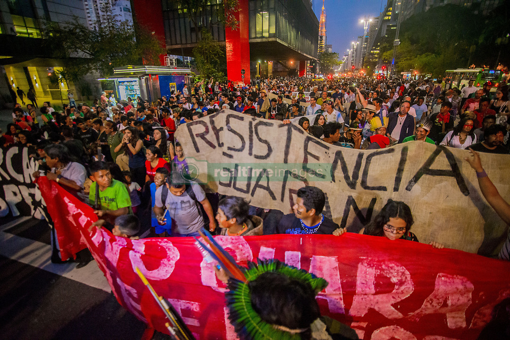 August 31, 2017 - Sao Paulo, São Paulo, Brazil - Indians occupied the seat of the Presidency of the Republic on Avenida Paulista, central region of São Paulo, on August 30, 2017. The aim of the demonstrators is to request the revocation of the Ministry of Justice decree that annulled the declaration of the Jaraguá Indigenous Land in the north of São Paulo...The portfolio annulled the directive nº 581, of 2015, that guaranteed more than 500 hectares of land to the guaranis. To do so, he alleged ''administrative error in the initial procedure, which resulted in a demand to change the size of indigenous land to 512 hectares.'' The text also says that the area ''was demarcated without the participation of the State of São Paulo in the joint definition of forms Of area use ''. For the repeal, also says that the indigenous land Jaraguá has the extension of approximately 3 hectares. (Credit Image: © Cris Faga/NurPhoto via ZUMA Press)