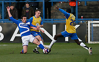 Photo: Steve Bond/Sportsbeat Images.<br />Macclesfield Town v Hereford United. Coca Cola League 2. 26/12/2007. Toumani Diagouraga (R) and Martin Gritton (L) stretch for the ball