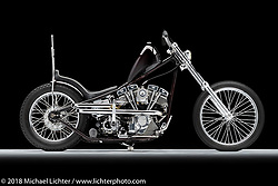 Root Beer Float, a custom motorcycle built from a 1975 Shovelhead, by Scott Peck. Photographed by Michael Lichter in Charlotte, SC, USA on 1/25/19. ©2019 Michael Lichter.