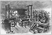 James Watt's workshop at Heathfield Hall, Birmingham, 1886.  It had not been disturbed since his death in 1819.  Watt (1736-1819) made great improvements to the steam engine, one of the most significant being the separate condenser.  In 1774 he went into partnership with Matthew Boulton (1728-1809) the Birmingham manufacturer and entrepreneur. From 'Scientific American'. (New York, 19 June 1886).