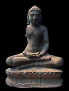Buddha in meditation, seated upon a lotus. 7th-8th century, Sandstone sculpture from Son Tho, Vietnam