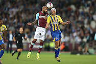 Simone Zaza of West Ham United and Matty Pearson of Accrington Stanley compete for the ball. EFL Cup, 3rd round match, West Ham Utd v Accrington Stanley at the London Stadium, Queen Elizabeth Olympic Park in London on Wednesday 21st September 2016.<br /> pic by John Patrick Fletcher, Andrew Orchard sports photography.
