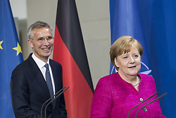 June 15, 2018 - Berlin, Germany - German Chancellor Angela Merkel and NATO Secretary General Jens Stoltenberg arrive at a press conference at the Chancellery in Berlin, Germany on June 15, 2018. (Credit Image: © Emmanuele Contini/NurPhoto via ZUMA Press)