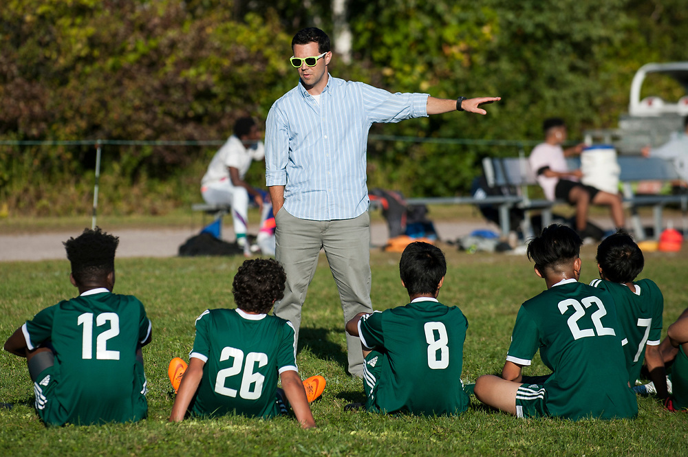 Winooski head coach Steve Feiss talks to the team at half time during the boys soccer game between Oxbow vs. Winooski at Winooski High School on Wednesday afternoon September 18, 2019 in Winooski, Vermont. (BRIAN JENKINS/for the FREE PRESS)