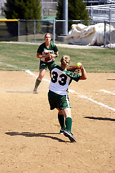 05 April 2008: Christy Engel throws a lightly hit ball to first base person Valerie Hackett before the runner arrives. The Carthage College Lady Reds lost the first game of this double header to the Titans of Illinois Wesleyan 4-1 at Illinois Wesleyan in Bloomington, IL