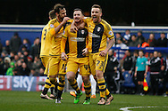 Ross McCormack © of Fulham celebrating with Jamie O'Hara & Michael Madl after scoring his teams 1st goal.  Skybet football league championship match, Queens Park Rangers v Fulham at Loftus Road Stadium in London on Saturday 13th February 2016.<br /> pic by Steffan Bowen, Andrew Orchard sports photography.