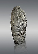 Late European Neolithic prehistoric Menhir standing stone with carvings on its face side. The representation of a stylalised male figure starts at the top with a long nose from which 2 eyebrows arch around the top of the stone. below this is a carving of a falling figure with head at the bottom and 2 curved arms encircling a body above. at the bottom is a carving of a dagger running horizontally across the menhir.  Excavated from Barrili II site,  Laconi. Menhir Museum, Museo della Statuaria Prehistorica in Sardegna, Museum of Prehoistoric Sardinian Statues, Palazzo Aymerich, Laconi, Sardinia, Italy. Grey background. .<br /> <br /> Visit our PREHISTORIC PLACES PHOTO COLLECTIONS for more photos to download or buy as prints https://funkystock.photoshelter.com/gallery-collection/Prehistoric-Neolithic-Sites-Art-Artefacts-Pictures-Photos/C0000tfxw63zrUT4