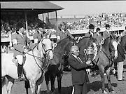 Dublin Horse Show (Aga Khan Cup).1986..08.08.1986..08.08.1986..8th August 1986..The annual Aga Khan Cup competition was held in the R.D.S. Dublin.Four countries competed for the cup this year.FDR Germany,The USA,Great Britain and Ireland. Great Britain were the eventual winners...Image of Great Britain Chef d'Equipe, Ronnie Massarella, proudly displaying the Aga Khan Cup won by the great Britain Team..The team consisted of (L-R) Peter Charles aboard April Sun, Michael Whitaker aboard Warren Point, Nick Skelton aboard Raffles Apollo and John Whitaker aboard Next Ryans Son.