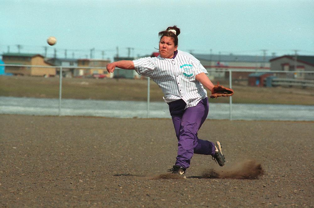 Alaska, Barrow. Women's softball game.