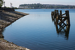 Cardiff, UK. 2nd May, 2017. Penarth is viewed from Cardiff Docks across Cardiff Bay.