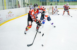 Andre Lakos of Austria vs ZIGA JEGLIC of Slovenia during Friendly Ice-hockey match between National teams of Slovenia and Austria on April 19, 2013 in Ice Arena Tabor, Maribor, Slovenia.  Slovenia defeated Austria 5-2. (Photo By Vid Ponikvar / Sportida)