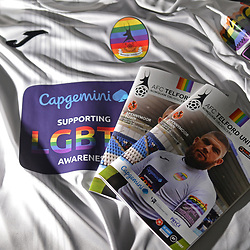 "TELFORD COPYRIGHT MIKE SHERIDAN AFC Telford United kits and programme in the dressing room prior to the Vanarama National League Conference North fixture between AFC Telford United and Spennymoor Town on Saturday, November 16, 2019.<br /> <br /> AFC Telford United hosted a ""football vs homophobia"" event, which saw the club wear specially designed kit with rainbow insignia, for the game.<br /> <br /> Picture credit: Mike Sheridan/Ultrapress<br /> <br /> MS201920-030"