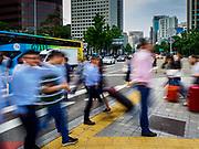 08 JUNE 2018 - SEOUL, SOUTH KOREA:  A slow shutter motion blur photo of pedestrians cross Sejong-Daero in Seoul.      PHOTO BY JACK KURTZ